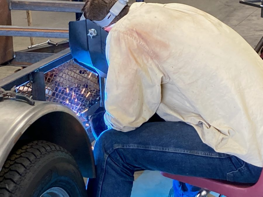 The welding class has been constructing a multitude of projects; for instance, junior Jezreel Bachert is building a smoker for a close friend of welding instructor Jay Northcutt.